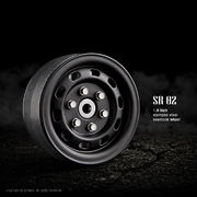 GMade 1.9 SR02 Beadlock Steel Wheels - Matt Black (2)