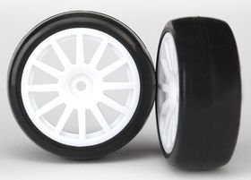 LaTrax Rally 1/18 Tires & Wheels White (Slicks)