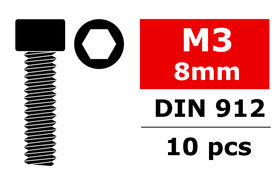 Team Corally Steel Screws M3 x 8mm Hex Socket Head (10)