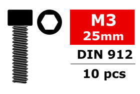 Team Corally Steel Screws M3 x 25mm Hex Socket Head (10)