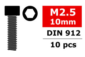 Team Corally Steel Screws M2.5 x 10mm Hex Socket Head (10)