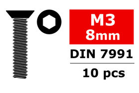 Team Corally Steel Screws M3 x 8mm Hex Flat Head (10)