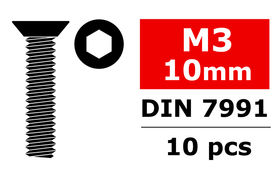 Team Corally Steel Screws M3 x 10mm Hex Flat Head (10)
