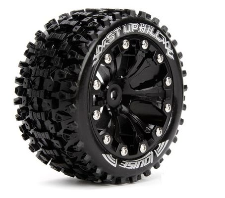 Louise 1:10 ST-Uphill 2.8 inch Truck Tire Mounted on Black Rim - Bearing - Soft (2)
